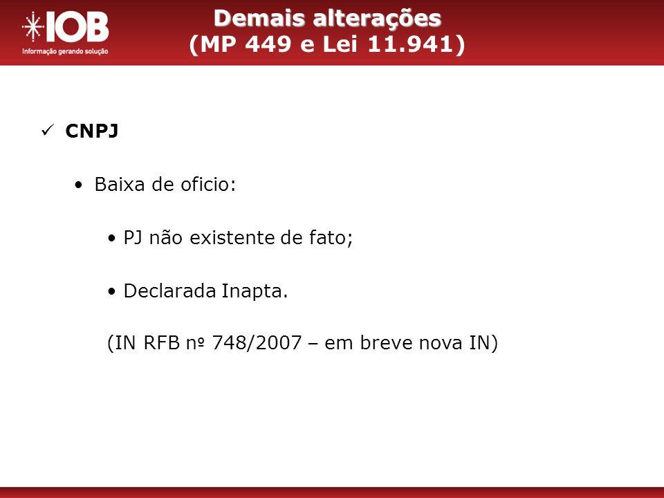Demais alterações (MP 449 e Lei 11.941)