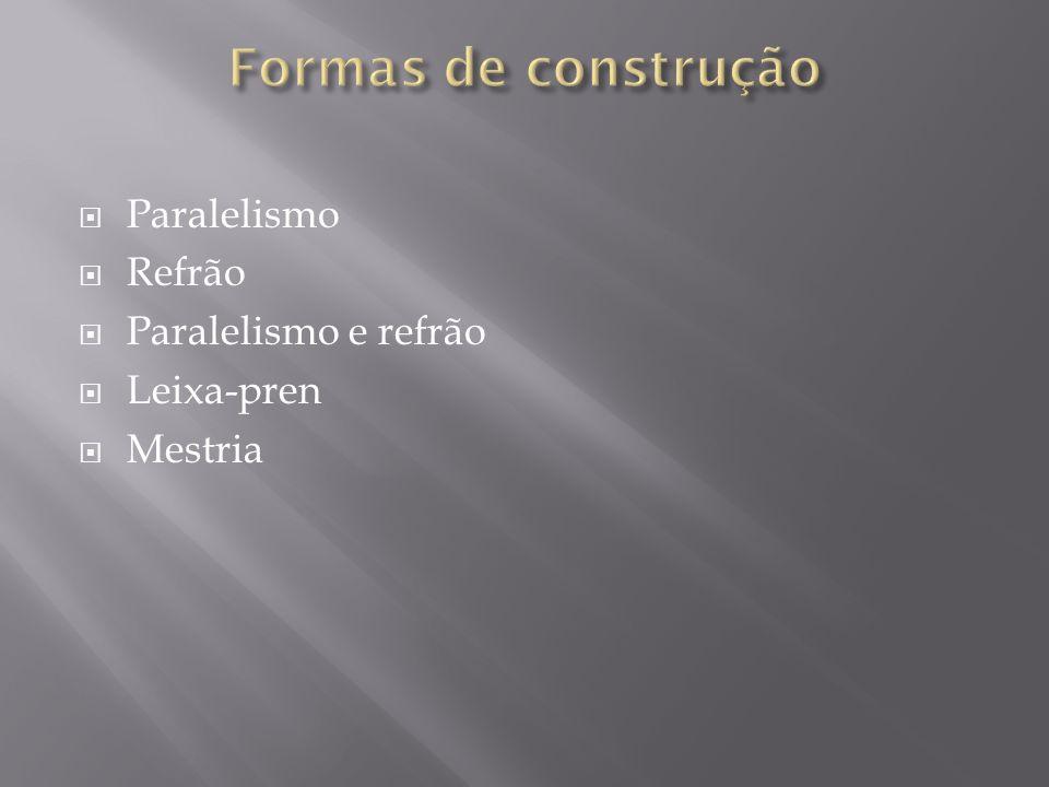 Formas de construção Paralelismo Refrão Paralelismo e refrão