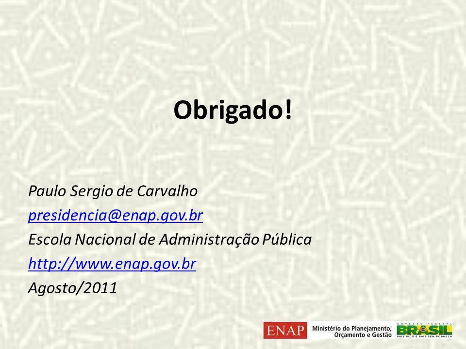 Obrigado! Paulo Sergio de Carvalho presidencia@enap.gov.br