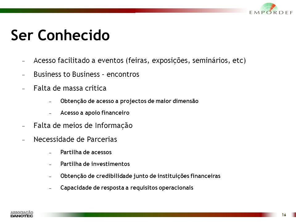 Ser Conhecido Acesso facilitado a eventos (feiras, exposições, seminários, etc) Business to Business - encontros.