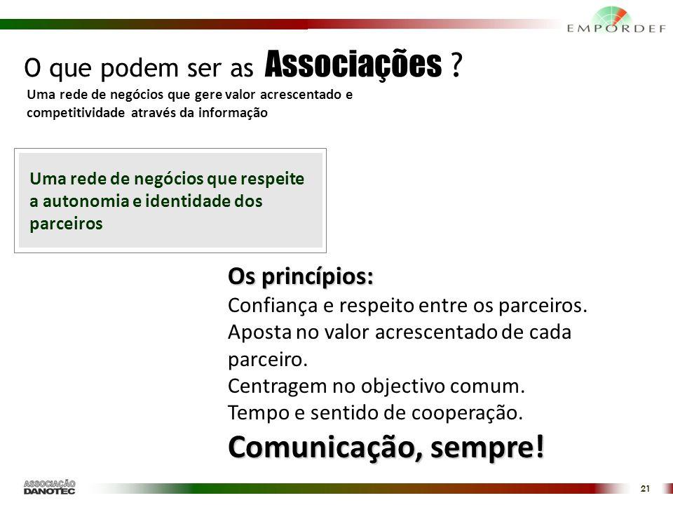 Comunicação, sempre! O que podem ser as Associações Os princípios: