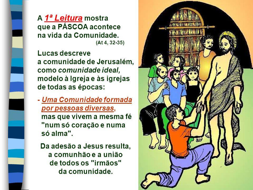 A 1ª Leitura mostra que a PÁSCOA acontece na vida da Comunidade.