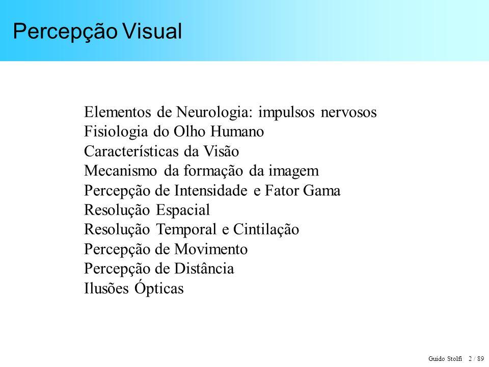 Percepção Visual Elementos de Neurologia: impulsos nervosos