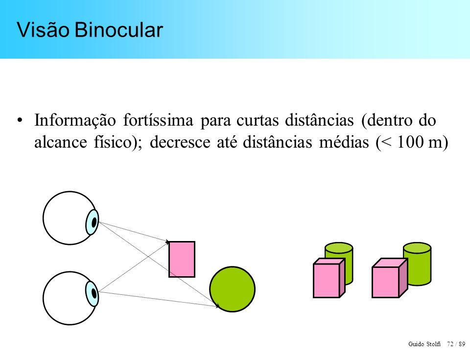Visão Binocular Informação fortíssima para curtas distâncias (dentro do alcance físico); decresce até distâncias médias (< 100 m)