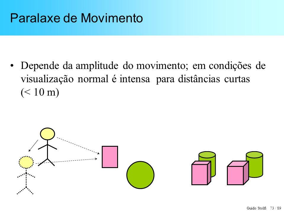 Paralaxe de Movimento Depende da amplitude do movimento; em condições de visualização normal é intensa para distâncias curtas (< 10 m)