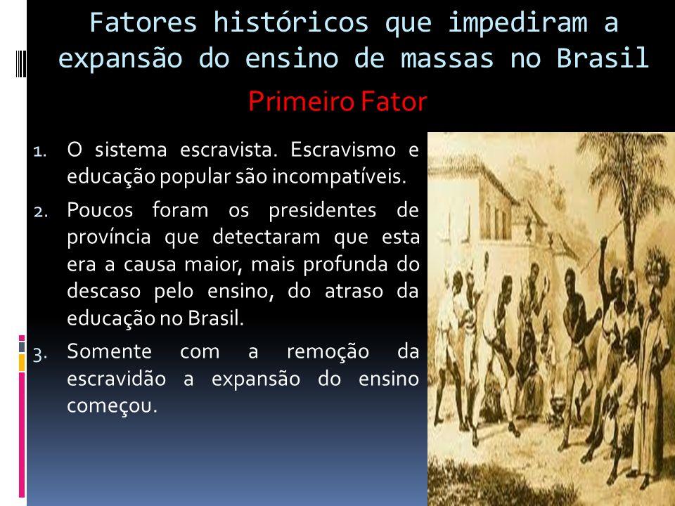 Fatores históricos que impediram a expansão do ensino de massas no Brasil