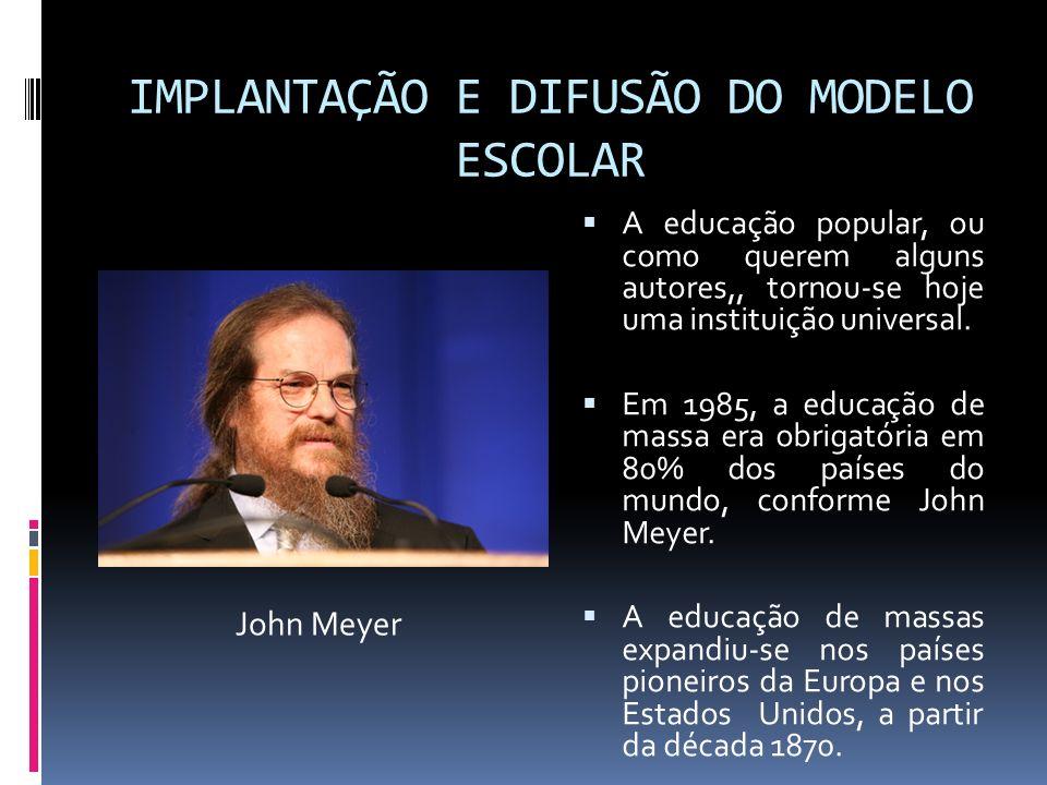 IMPLANTAÇÃO E DIFUSÃO DO MODELO ESCOLAR