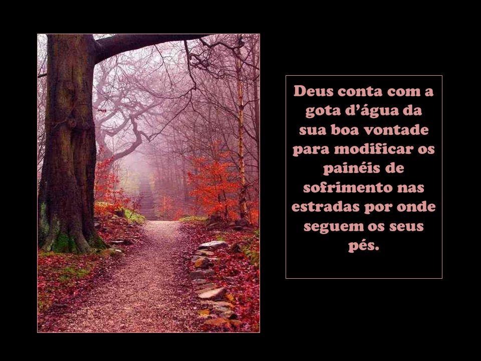 Deus conta com a gota d'água da sua boa vontade para modificar os painéis de sofrimento nas estradas por onde seguem os seus pés.