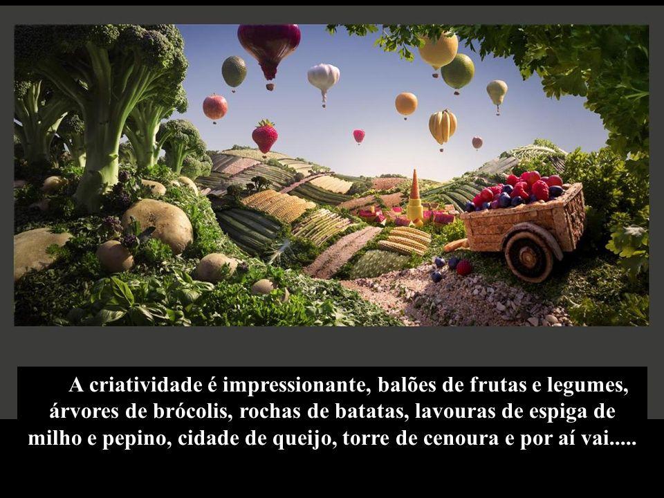 A criatividade é impressionante, balões de frutas e legumes, árvores de brócolis, rochas de batatas, lavouras de espiga de milho e pepino, cidade de queijo, torre de cenoura e por aí vai.....