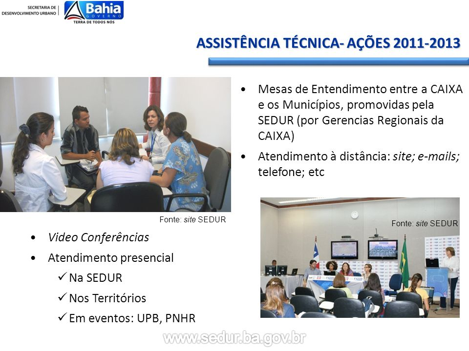 ASSISTÊNCIA TÉCNICA- AÇÕES 2011-2013