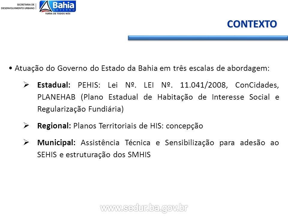 CONTEXTO • Atuação do Governo do Estado da Bahia em três escalas de abordagem: