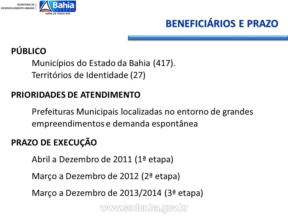 BENEFICIÁRIOS E PRAZO PÚBLICO Municípios do Estado da Bahia (417). Territórios de Identidade (27)