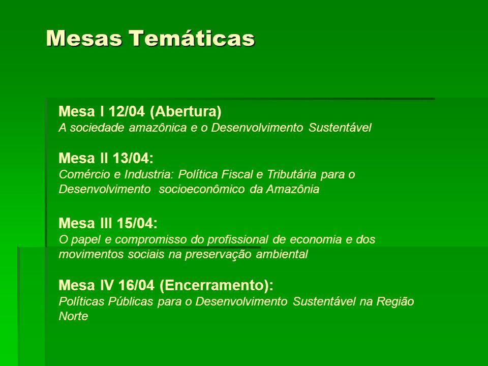 Mesas Temáticas Mesa I 12/04 (Abertura) Mesa II 13/04: Mesa III 15/04: