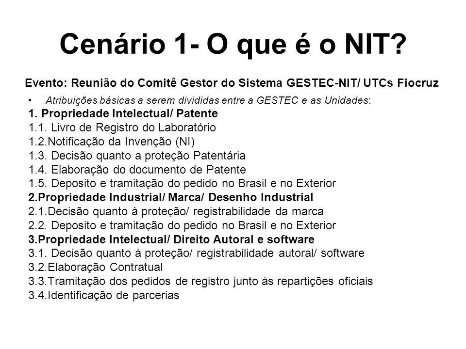 Cenário 1- O que é o NIT Evento: Reunião do Comitê Gestor do Sistema GESTEC-NIT/ UTCs Fiocruz.