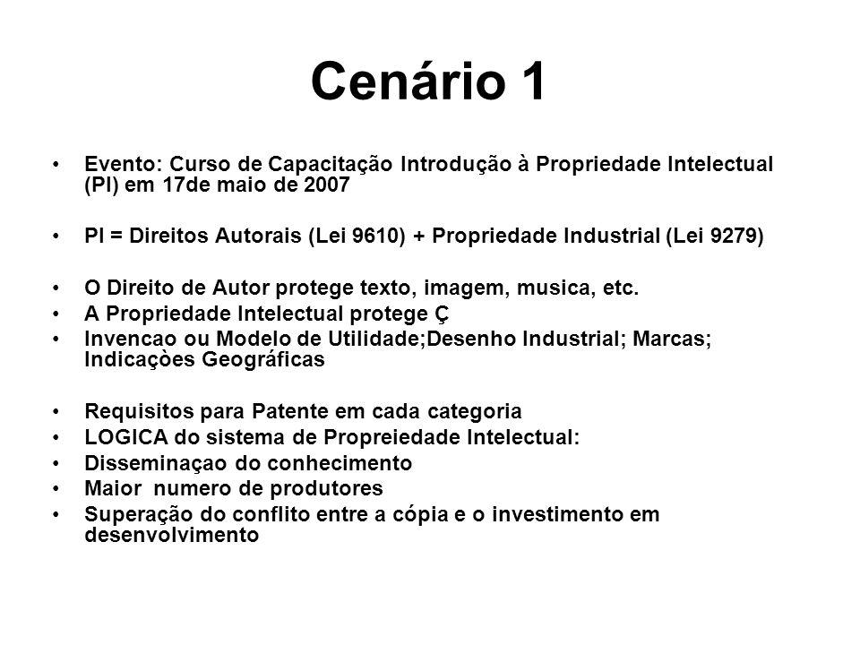 Cenário 1 Evento: Curso de Capacitação Introdução à Propriedade Intelectual (PI) em 17de maio de 2007.