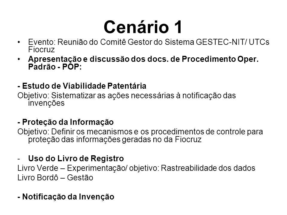 Cenário 1 Evento: Reunião do Comitê Gestor do Sistema GESTEC-NIT/ UTCs Fiocruz.
