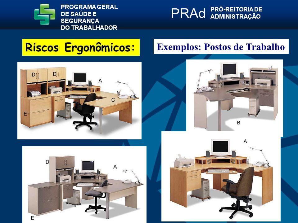 PRAd Riscos Ergonômicos: Exemplos: Postos de Trabalho PROGRAMA GERAL