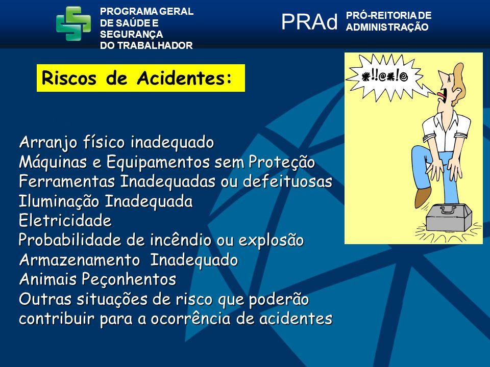 PRAd Riscos de Acidentes: Arranjo físico inadequado