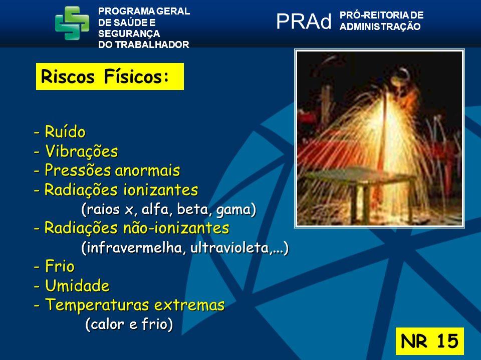 PRAd Riscos Físicos: NR 15 - Ruído - Vibrações - Pressões anormais