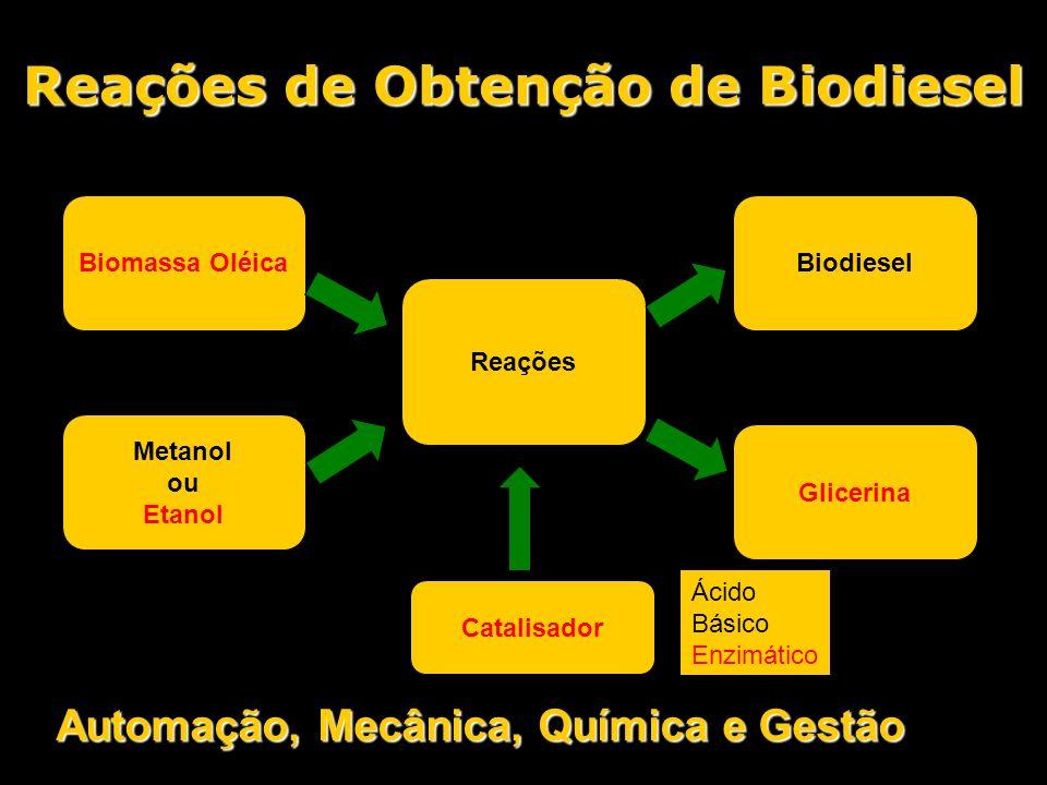 Reações de Obtenção de Biodiesel