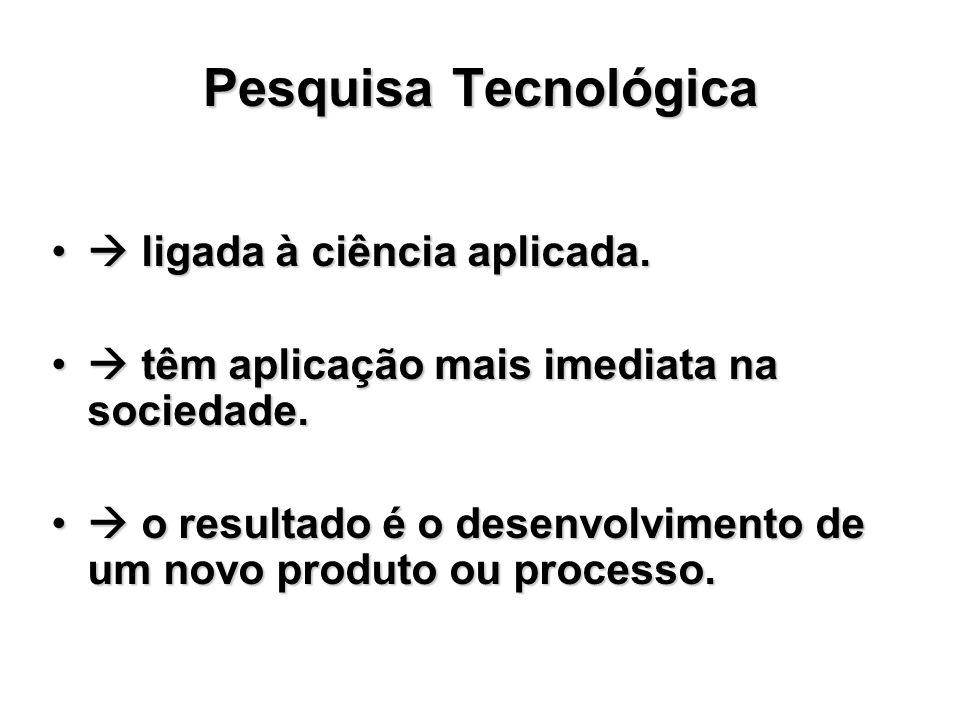Pesquisa Tecnológica  ligada à ciência aplicada.