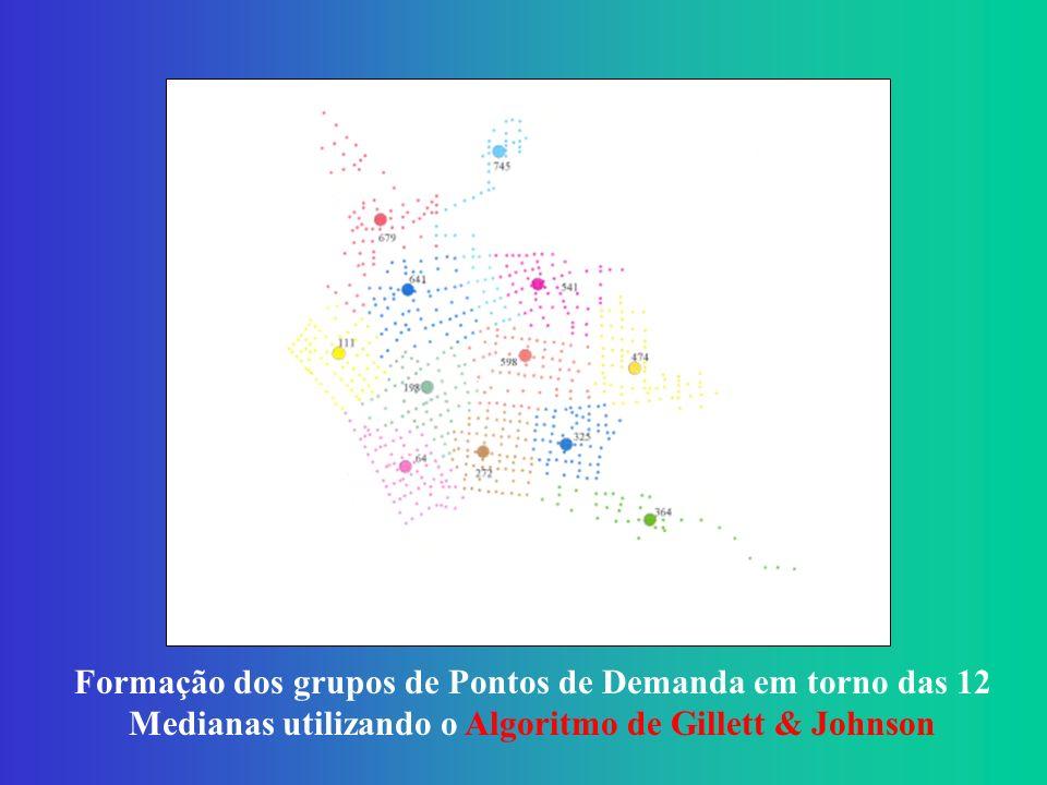 Formação dos grupos de Pontos de Demanda em torno das 12 Medianas utilizando o Algoritmo de Gillett & Johnson