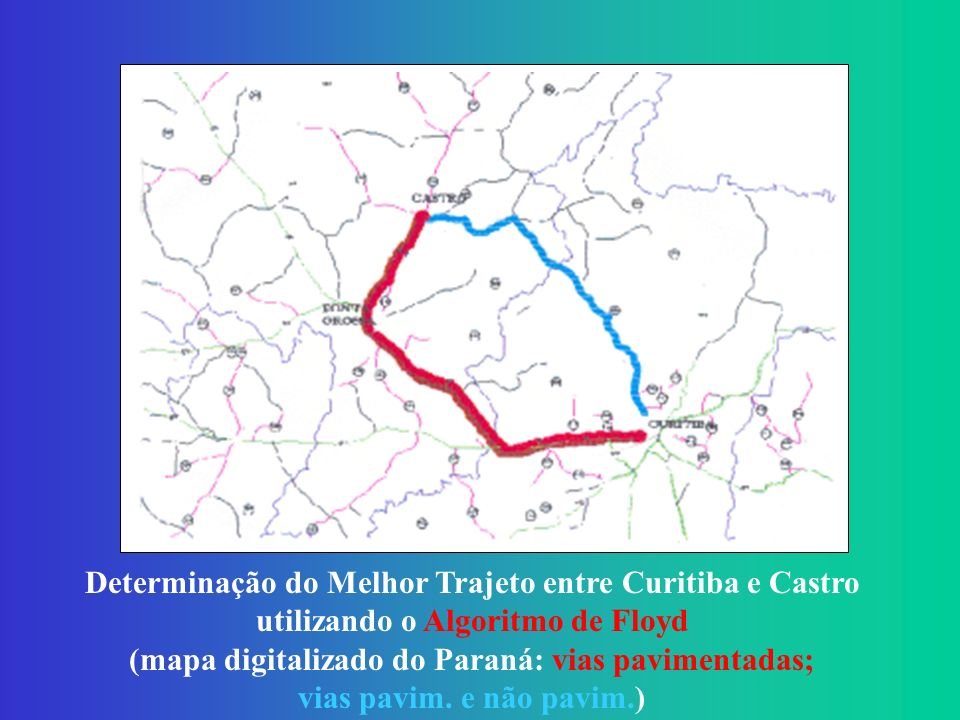 (mapa digitalizado do Paraná: vias pavimentadas;