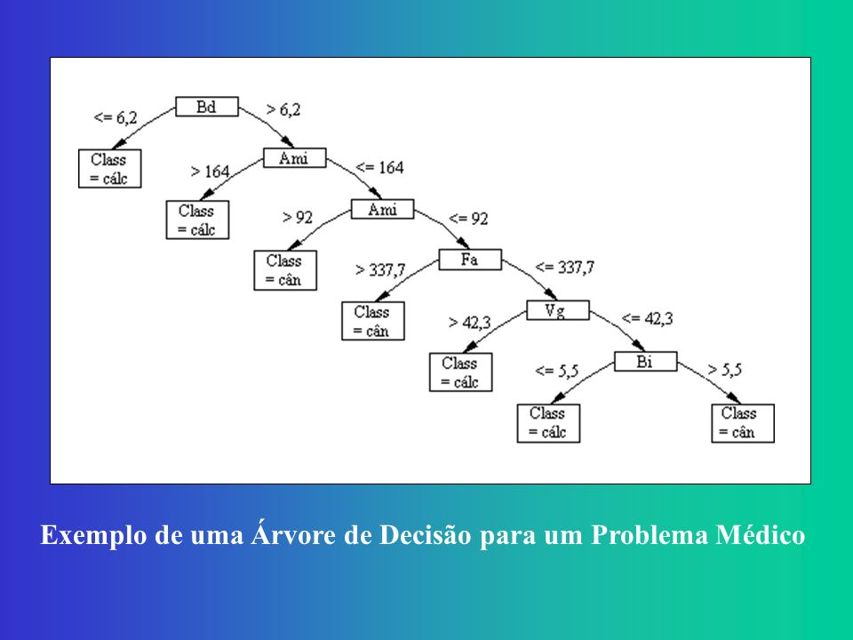 Exemplo de uma Árvore de Decisão para um Problema Médico