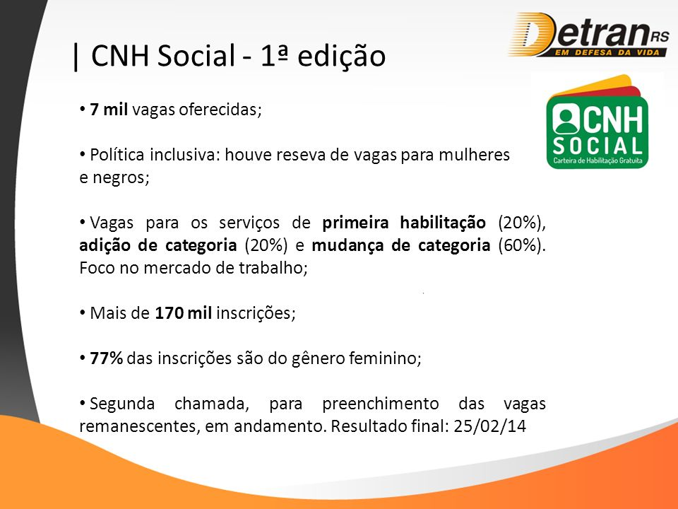 | CNH Social - 1ª edição 7 mil vagas oferecidas;