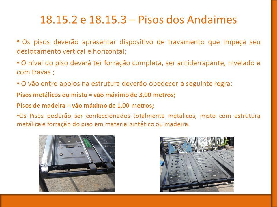 18.15.2 e 18.15.3 – Pisos dos Andaimes Os pisos deverão apresentar dispositivo de travamento que impeça seu deslocamento vertical e horizontal;