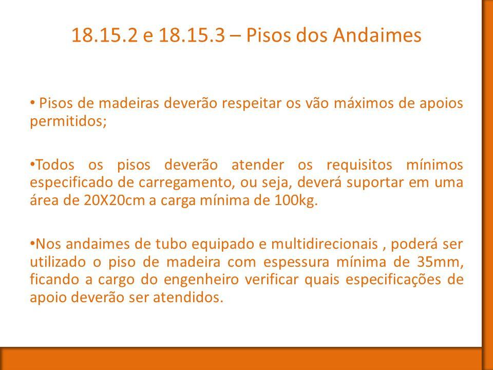 18.15.2 e 18.15.3 – Pisos dos Andaimes Pisos de madeiras deverão respeitar os vão máximos de apoios permitidos;