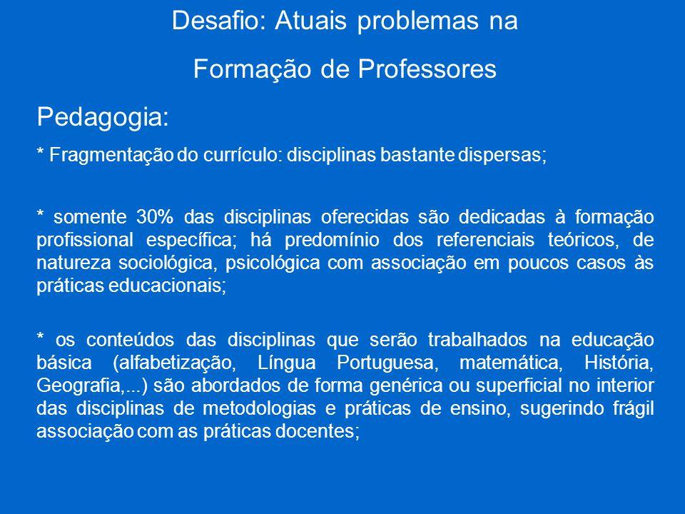 Desafio: Atuais problemas na Formação de Professores Pedagogia: