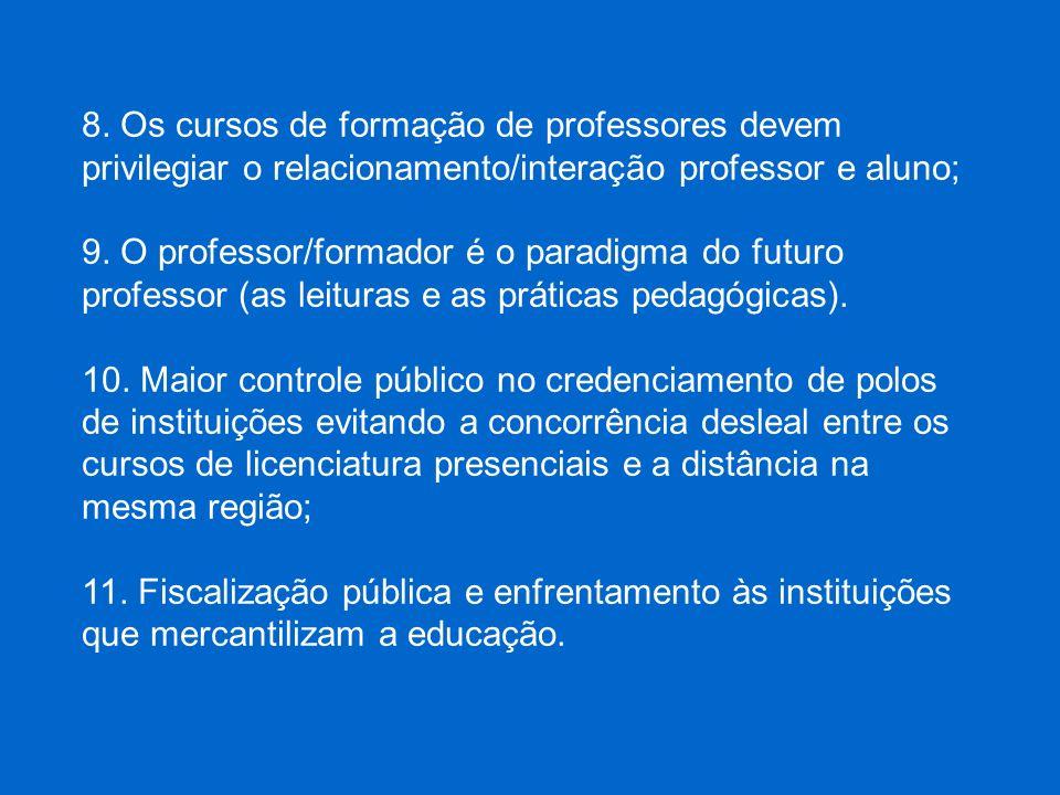 8. Os cursos de formação de professores devem privilegiar o relacionamento/interação professor e aluno;