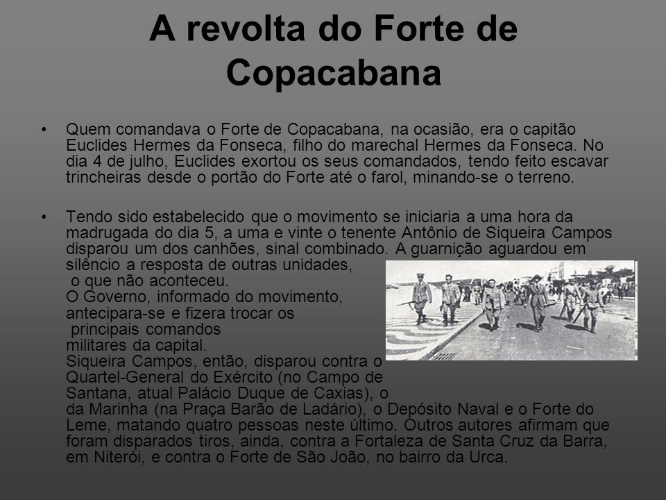 A revolta do Forte de Copacabana