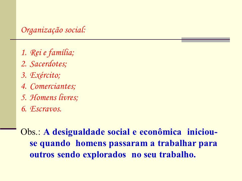 Organização social: Rei e família; Sacerdotes; Exército; Comerciantes; Homens livres; Escravos.