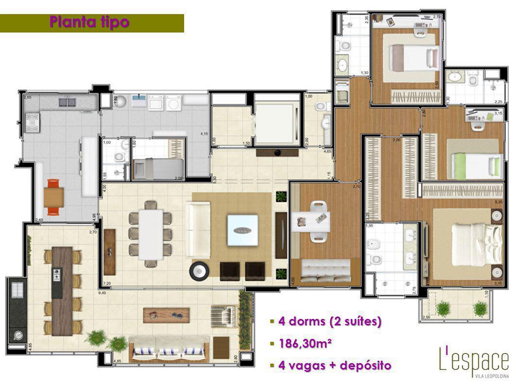 Planta tipo 4 dorms (2 suítes) 186,30m² 4 vagas + depósito 25