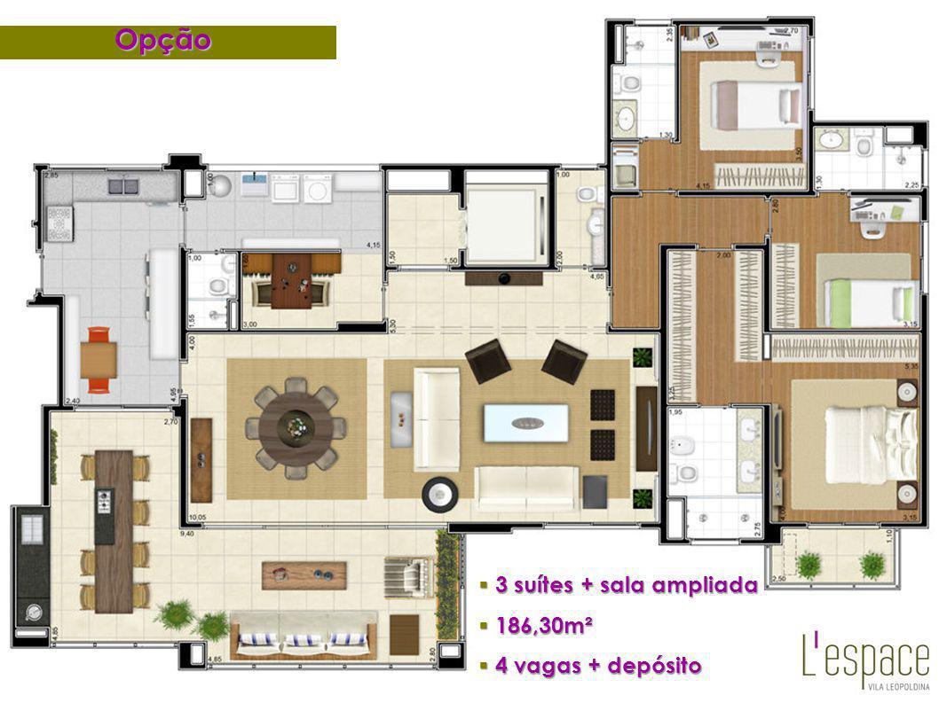 Opção 3 suítes + sala ampliada 186,30m² 4 vagas + depósito 26