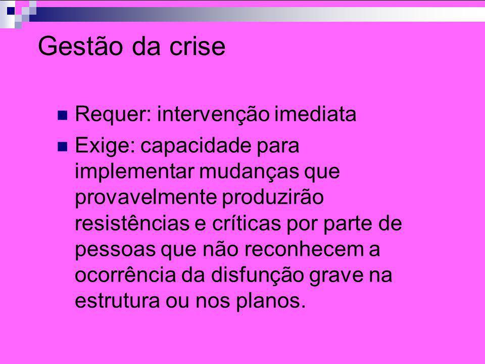 Gestão da crise Requer: intervenção imediata