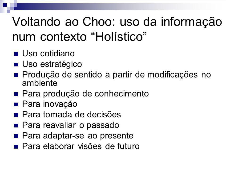 Voltando ao Choo: uso da informação num contexto Holístico