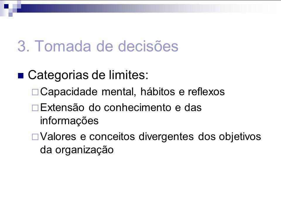 3. Tomada de decisões Categorias de limites: