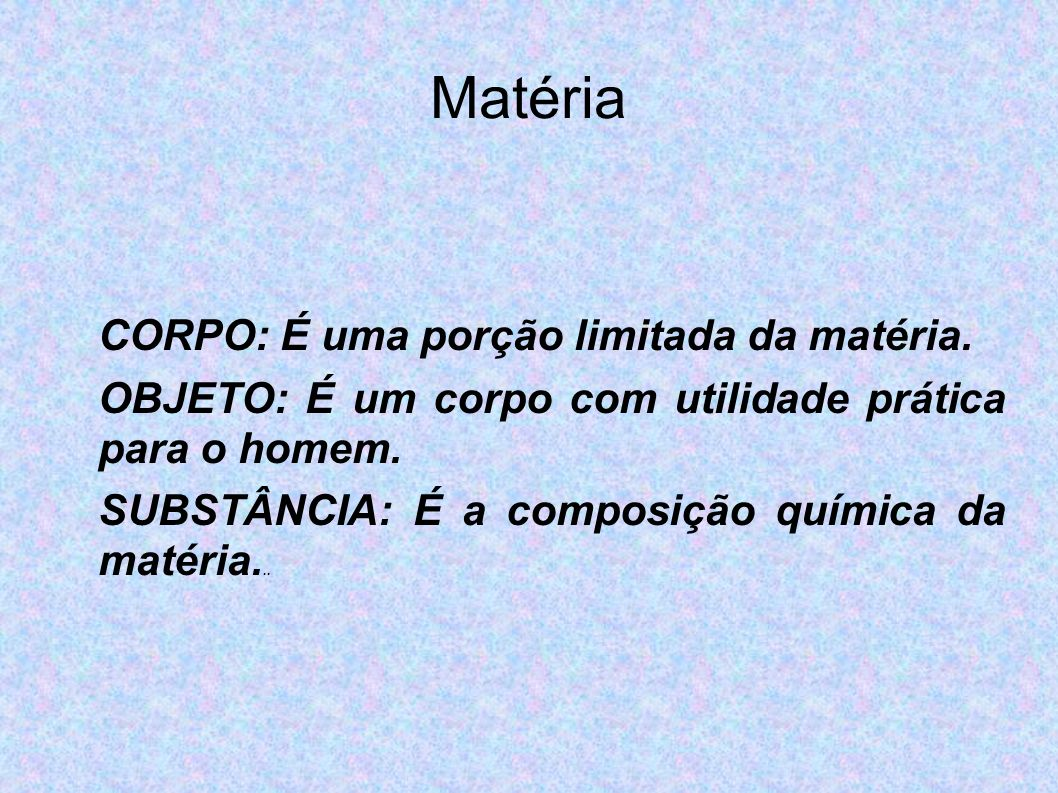 Matéria CORPO: É uma porção limitada da matéria.