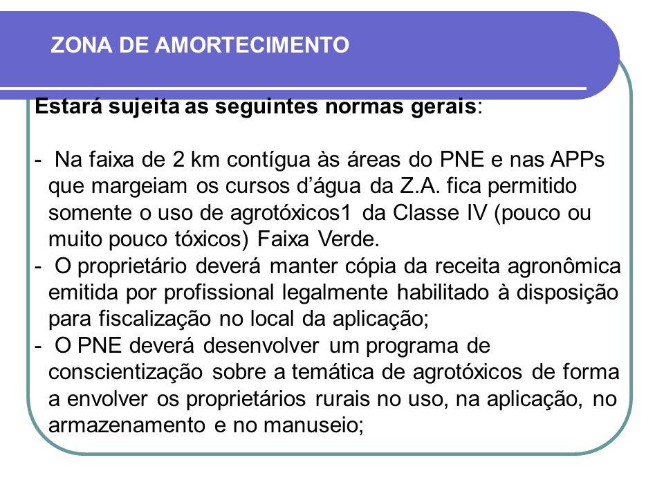 ZONA DE AMORTECIMENTO Estará sujeita as seguintes normas gerais: