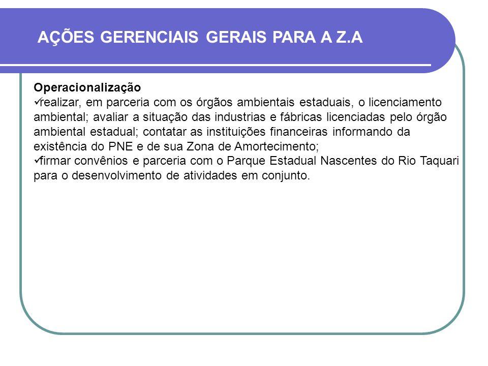 AÇÕES GERENCIAIS GERAIS PARA A Z.A