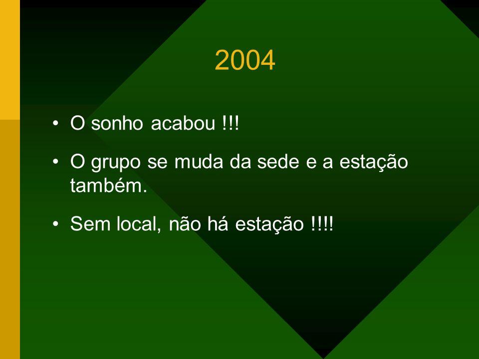 2004 O sonho acabou !!! O grupo se muda da sede e a estação também.