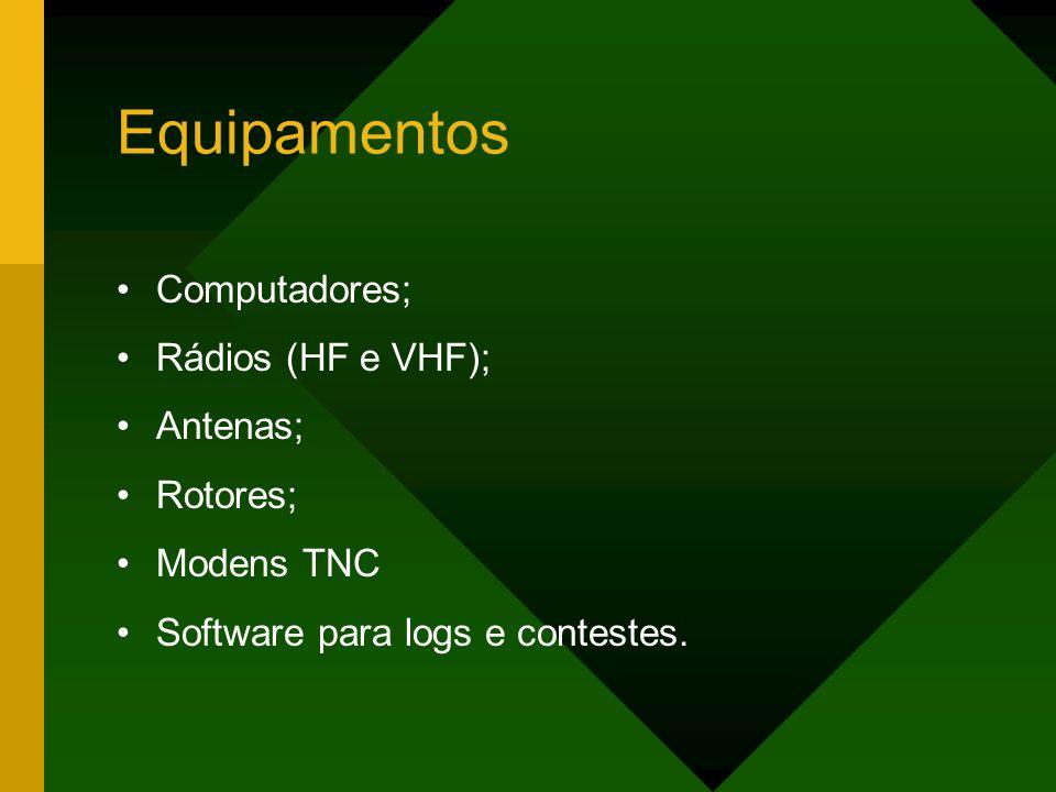 Equipamentos Computadores; Rádios (HF e VHF); Antenas; Rotores;