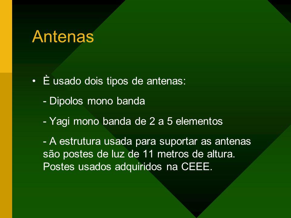 Antenas È usado dois tipos de antenas: - Dipolos mono banda