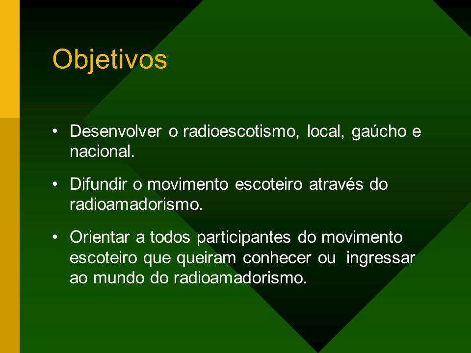 Objetivos Desenvolver o radioescotismo, local, gaúcho e nacional.