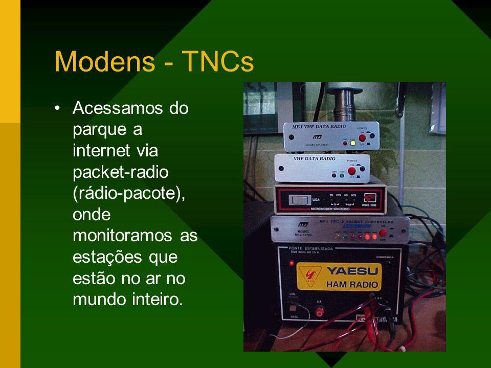 Modens - TNCs Acessamos do parque a internet via packet-radio (rádio-pacote), onde monitoramos as estações que estão no ar no mundo inteiro.