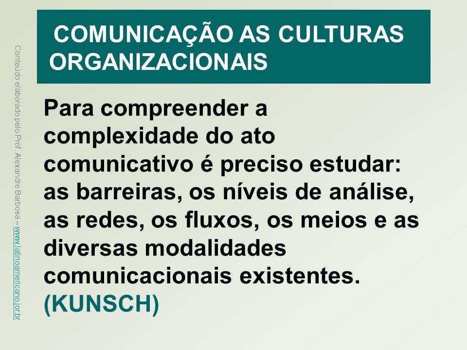 COMUNICAÇÃO AS CULTURAS ORGANIZACIONAIS