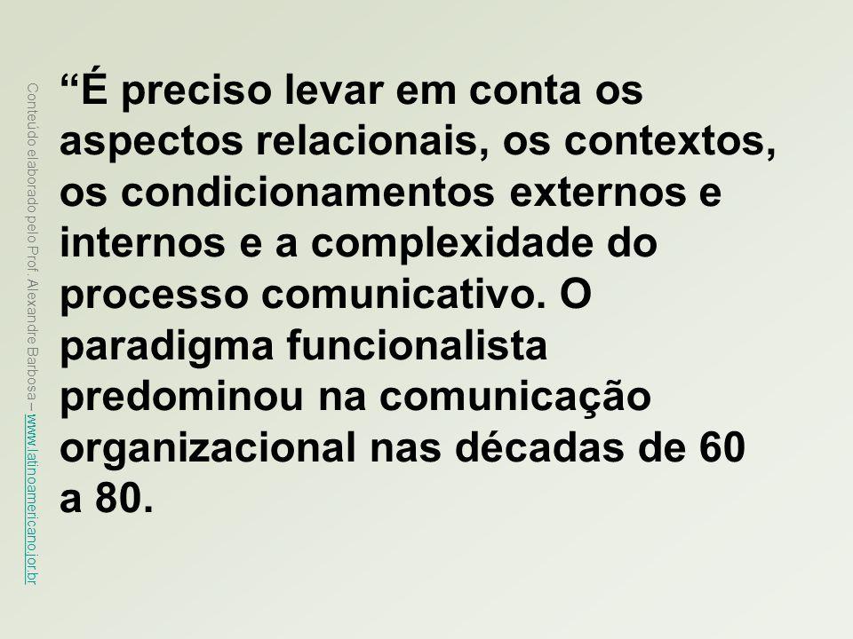 É preciso levar em conta os aspectos relacionais, os contextos, os condicionamentos externos e internos e a complexidade do processo comunicativo. O paradigma funcionalista predominou na comunicação organizacional nas décadas de 60 a 80.
